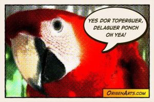 comic cotorro con dialogo en ingles mocho origenarts